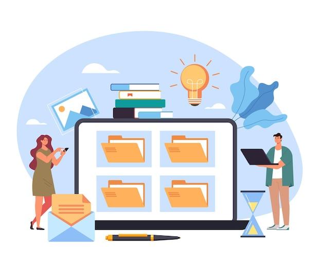 Biblioteca de documentação de pasta de arquivo conceito de gerenciamento de organização de gabinete de local de trabalho de banco de dados pessoal.