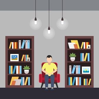 Biblioteca de ilustração vetorial centro de coworking.