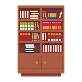 Biblioteca de madeira com livros