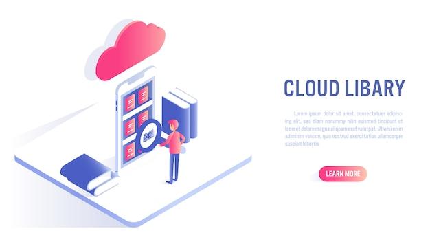 Biblioteca de nuvem e o conceito de educação on-line. apelo à ação ou modelo de banner da web