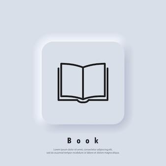 Biblioteca digital eletrônica. conceito de educação na internet, recursos de e-learning, cursos online distantes. vetor. ícone da interface do usuário. botão da web da interface de usuário branco neumorphic ui ux. neumorfismo