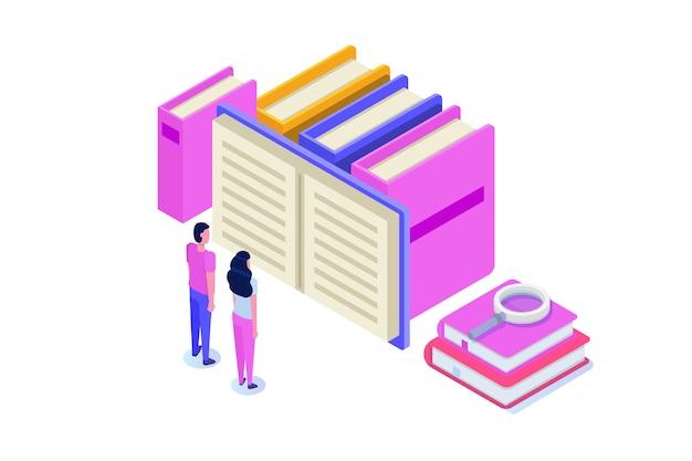 Biblioteca digital on-line isométrica, livraria on-line, e-learning, ebook. ilustração.