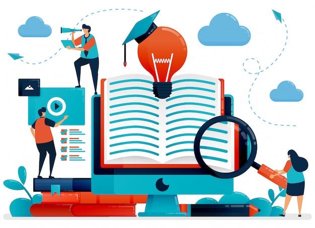 Biblioteca digital para obter ilustração do conceito de idéias