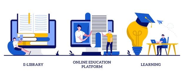 Biblioteca eletrônica, plataforma de educação online, conceito de aprendizagem com pessoas minúsculas