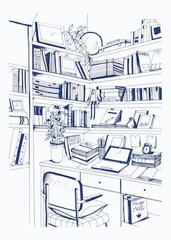 Biblioteca interior interior moderna, estantes, ilustração de esboço desenhado de mão de local de trabalho.