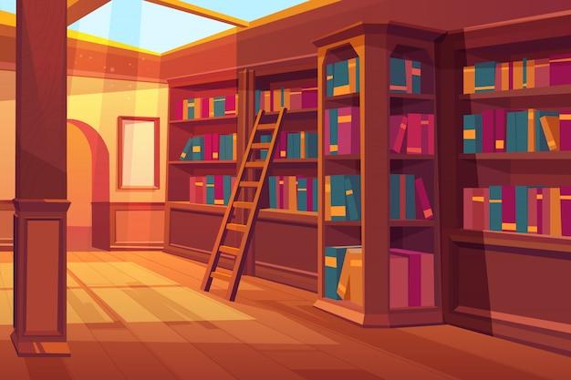 Biblioteca interior, sala vazia para ler com livros nas prateleiras de madeira
