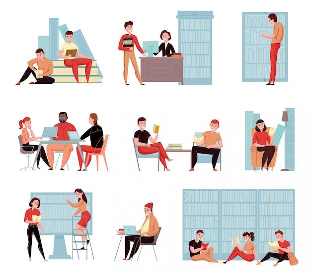 Biblioteca moderna com área de leitura ao ar livre computador catálogo on-line livros acessar composições de ícones plana definida ilustração vetorial