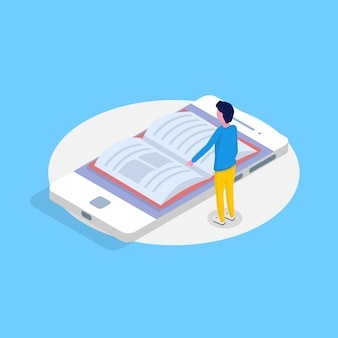 Biblioteca móvel on-line conceito isométrico. micro pessoas lendo livros. ilustração vetorial
