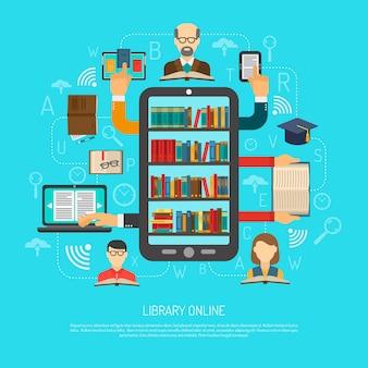 Biblioteca on-line cocept layout gráfico impressão