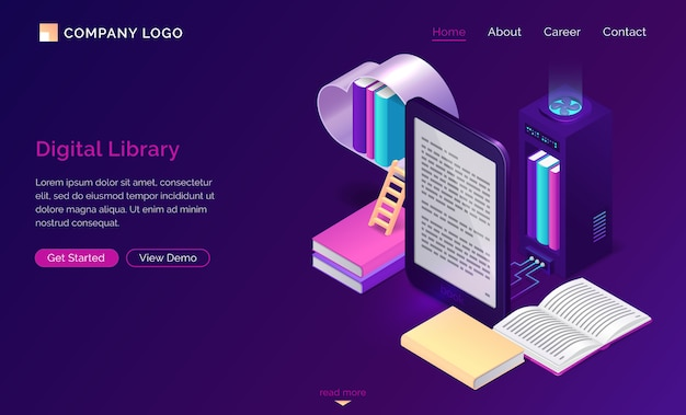 Biblioteca on-line, leitura eletrônica isométrica
