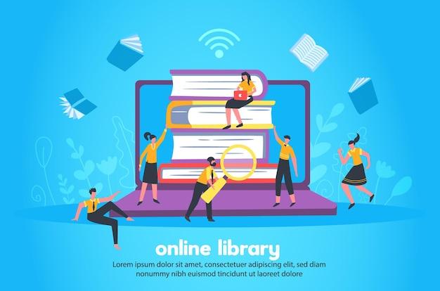Biblioteca online com pilha de livros e cadernos, grandes imagens, sinal wi fi e pequenas estatuetas de pessoas