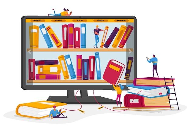 Biblioteca online e conceito de arquivo de livros de mídia.