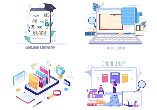 Biblioteca online ilustração de fundo de educação digital com ensino à distância, aulas gravadas, tutorial em vídeo para obter conhecimento
