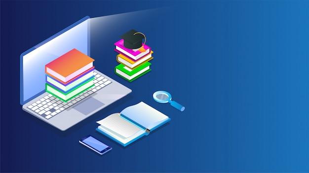 Biblioteca online isométrica.