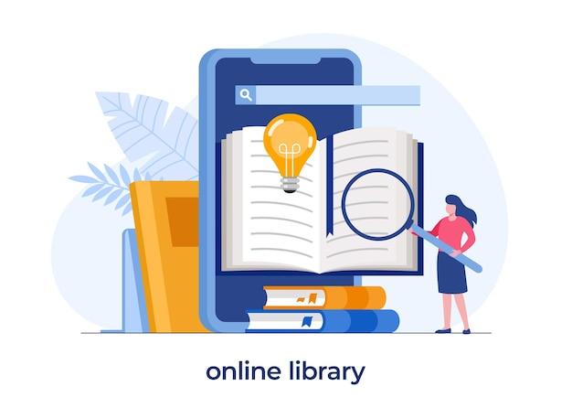 Biblioteca online para educação, conceito de referência online, livro, literatura ou elearning, ilustração vetorial plana