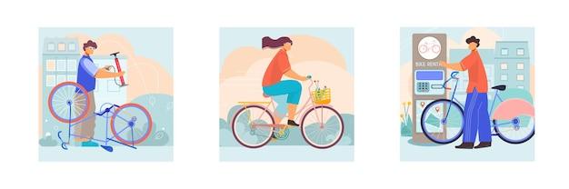 Bicicleta 3 composições quadradas com serviço de reparador andando de bicicleta urbana com aluguel automatizado de cesta