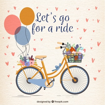 Bicicleta bonita com balões e flores