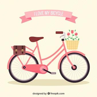 Bicicleta bonita com cesta e flores