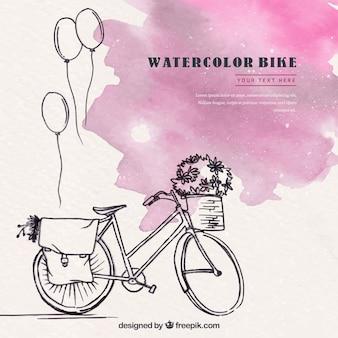 Bicicleta bonita com estilo aquarela