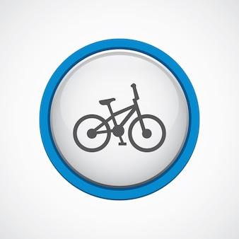 Bicicleta brilhante com ícone de traço azul, círculo, isolado