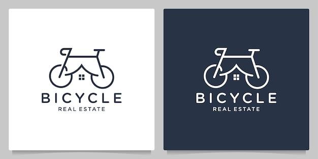 Bicicleta casa imobiliária conceitos gráficos criativos linha contorno design de logotipo