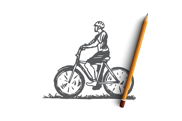 Bicicleta, ciclista, esporte, corrida, conceito de homem. homem desenhado de mão no esboço do conceito de bicicleta. ilustração.