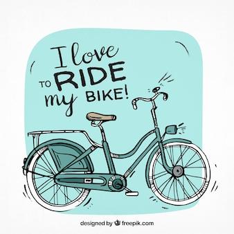 Bicicleta clássica com estilo desenhado a mão