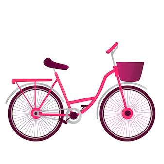 Bicicleta com cesta de vetor isolada no fundo branco.