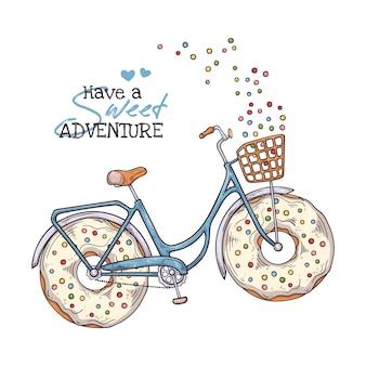 Bicicleta com donuts em vez de rodas.