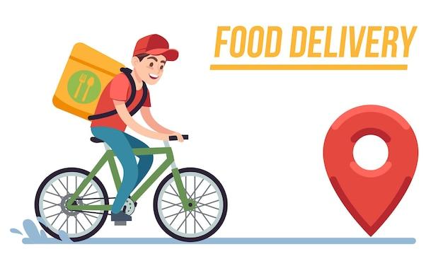 Bicicleta com entregador. correio rápido com caixa de pizza, ciclista cavalga na estrada para o cliente serviço de entrega expressa de comida vetor plana jovem personagem de desenho animado