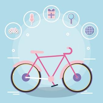 Bicicleta com serviço de entrega com conjunto de ícones
