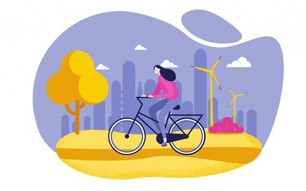 Bicicleta da equitação da mulher, estilo de vida saudável liso.