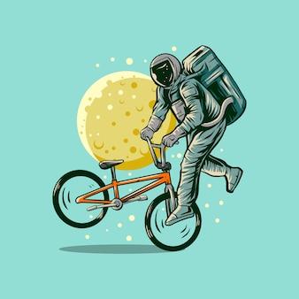 Bicicleta de bmx de astronauta freestyle com ilustração de lua
