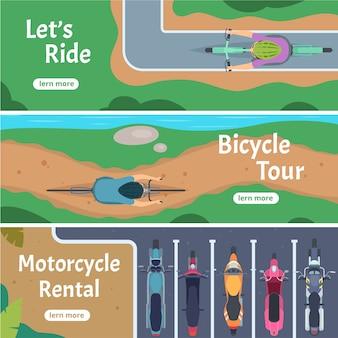 Bicicleta de cidade de banner. trilhas de pessoas dirigindo o modelo de tráfego rodoviário de vista superior de bicicleta