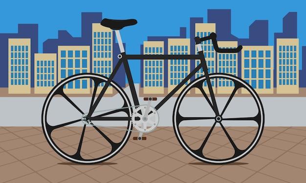Bicicleta de engrenagem fixa na ilustração da cidade