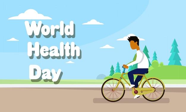 Bicicleta de equitação homem sobre o dia mundial da saúde