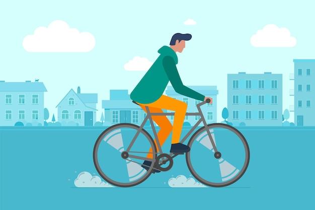Bicicleta de equitação masculino hipster na rua da cidade. atividade de lazer do jovem ciclista na estrada da cidade. cara estiloso em uma bicicleta ilustração vetorial plana de eps