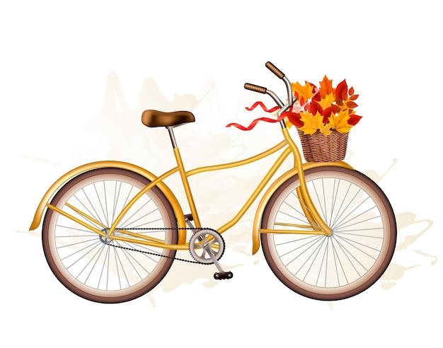 Bicicleta de outono com folhas coloridas.