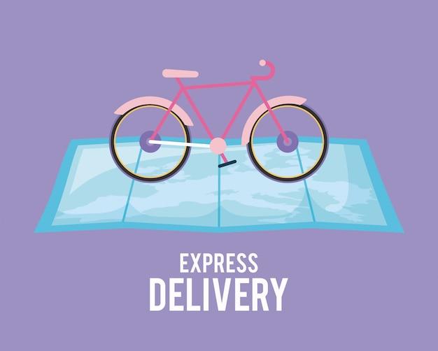 Bicicleta de serviço de entrega no guia de mapa