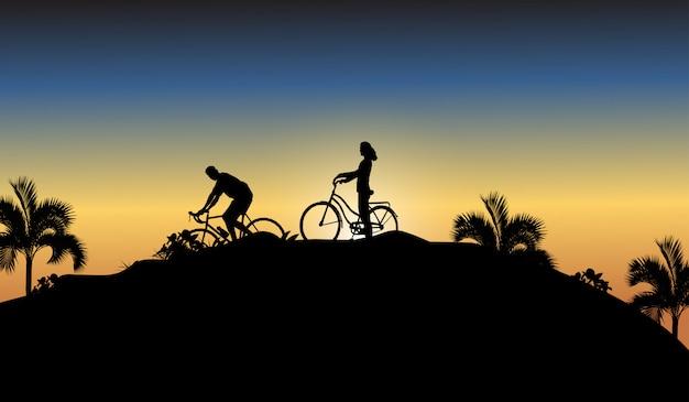 Bicicleta de sombra e pessoas