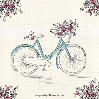 Bicicleta desenhada a mão com lindas flores