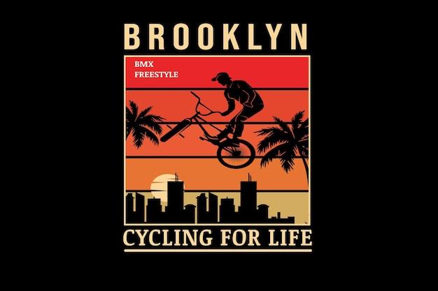 Bicicleta do brooklyn motocross freestyle cor laranja gradiente
