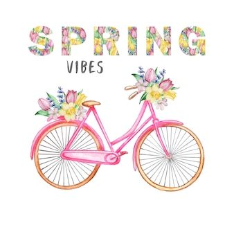 Bicicleta e letras florais isoladas em branco