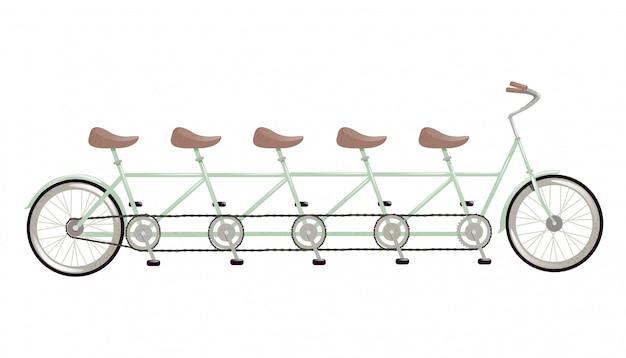 Bicicleta em tandem retrô. o conceito de uma bicicleta combinada