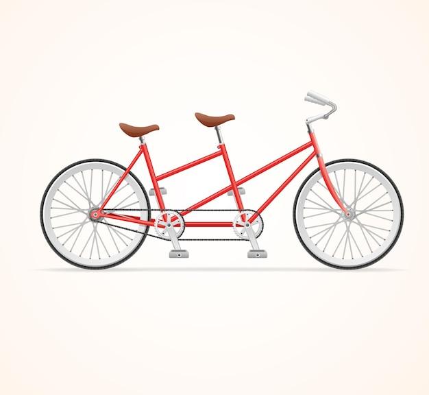 Bicicleta em tandem vintage vermelha.