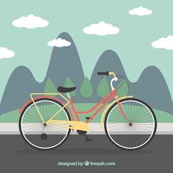 Bicicleta em um fundo da paisagem