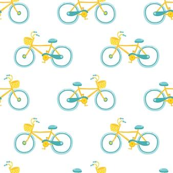 Bicicleta feminina. bonito padrão sem emenda no estilo infantil simples dos desenhos animados.