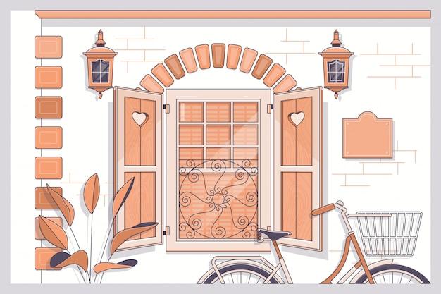 Bicicleta, frente, janela aberta