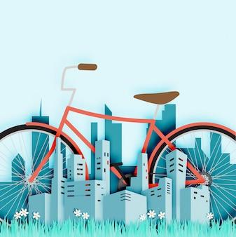 Bicicleta na cidade com ilustração vetorial de estilo de corte de papel