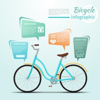 Bicicleta ou infográficos de esportes e fitness relacionados a bicicletas. roda e atividade. ilustração vetorial